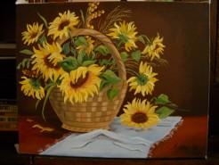 Picturi cu flori Floarea soarelui in cos 2