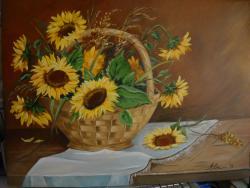 Picturi cu flori floarea soarelui in cos 4