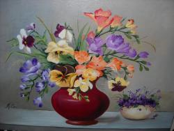 Picturi cu flori Frezii si panselute