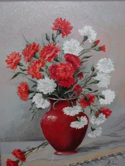 Picturi cu flori garoafe albe si rosii