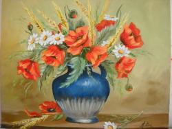 Picturi cu flori maci cu spic de grau