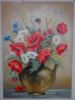 Picturi cu flori maci cu spic de grau 2