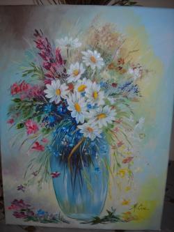 Picturi cu flori Margarete si flori de camp.