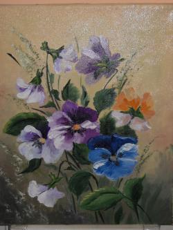 Picturi cu flori panselute mov