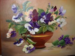 Picturi cu flori Panselute si viorele