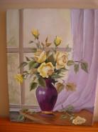 Picturi cu flori Trandafiri galbeni la geam