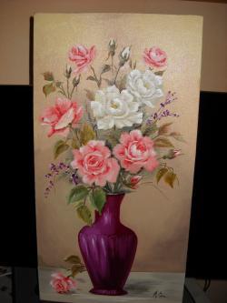 Picturi cu flori trandafiri in doua culori
