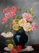 Picturi cu flori Trandafiri in vaza albastra