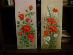 Picturi cu flori trandafiri si maci 5