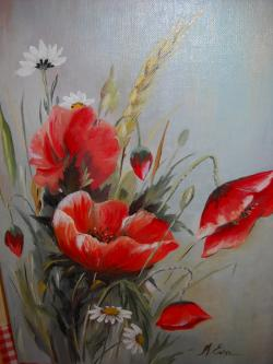 Picturi cu flori un buchet cu maci