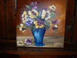Picturi cu flori un buchet de panselute