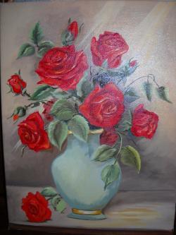 Picturi cu flori un buchet de trandafiri rosii