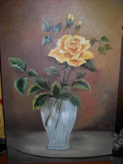 Picturi cu flori Un trandafir galben