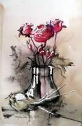 Picturi cu flori Trandafiri, macese, usturoi.