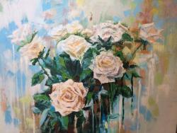 Picturi cu flori trandafiri albi abstract modern