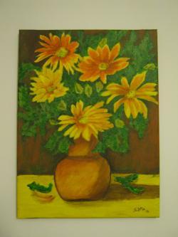 Picturi cu flori Crizanteme in ulcica bej