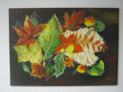 Picturi cu flori Frunze aramii