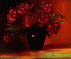 Picturi cu flori BUJORI IN VAZA ROSIE