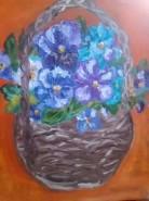 Picturi cu flori Cos cu panselute