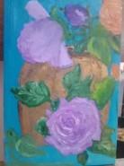 Picturi cu flori Vas cu trandafiri lila