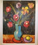 Picturi cu flori Vaza cu flori, ulei pe carton, pictor neculai milord