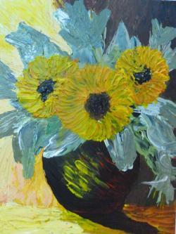 Picturi cu flori Vaza cu Floarea Soarelui