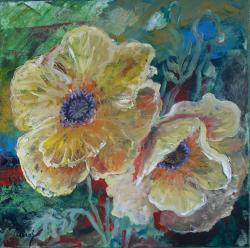 Picturi cu flori 2 maci galbeni