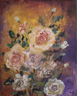 Picturi cu flori Adie vantul printre trandafiri