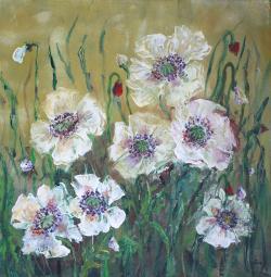 Picturi cu flori Maci albi 1