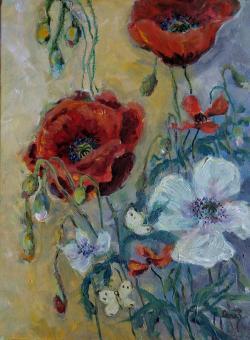 Picturi cu flori Maci  si fluturi