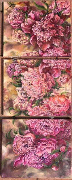 Picturi cu flori Bujori veseli