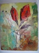 Picturi cu flori Boboci rosii
