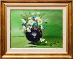 Picturi cu flori FLORI DE CIMP in vas de lut