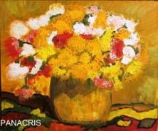 Picturi cu flori Oala cu crizanteme