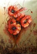Picturi cu flori Aur si maci