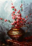 Picturi cu flori Merisor in vas de arama