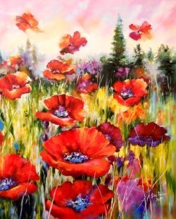 Picturi cu flori poppies 2017