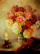 Picturi cu flori Roses by a candle