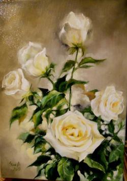 Picturi cu flori -trandafiri albi 3