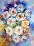 Picturi cu flori Trandafiri albi iii
