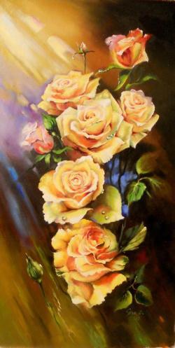 Picturi cu flori TRANDAFIRI GALBENI 2015