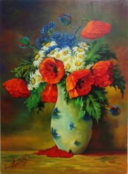 Picturi cu flori flori de camp si maci 1