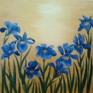Picturi cu flori Irisi - apus de soare