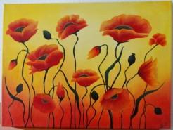 Picturi cu flori Maci in soare