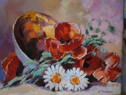 Picturi cu flori maci cu margarete