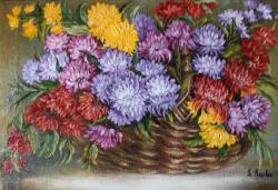 Picturi cu flori Cos cu crizanteme