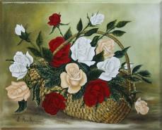 Picturi cu flori Cos cu trandafiri