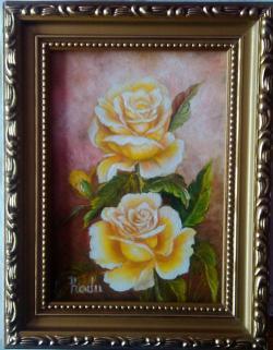Picturi cu flori Doi trandafiri si un bobocel