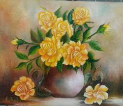 Picturi cu flori galbeni trandafiri