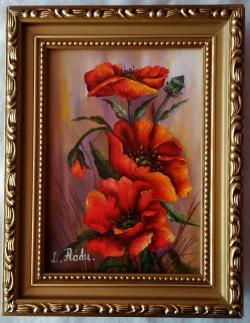 Picturi cu flori maci rosii1